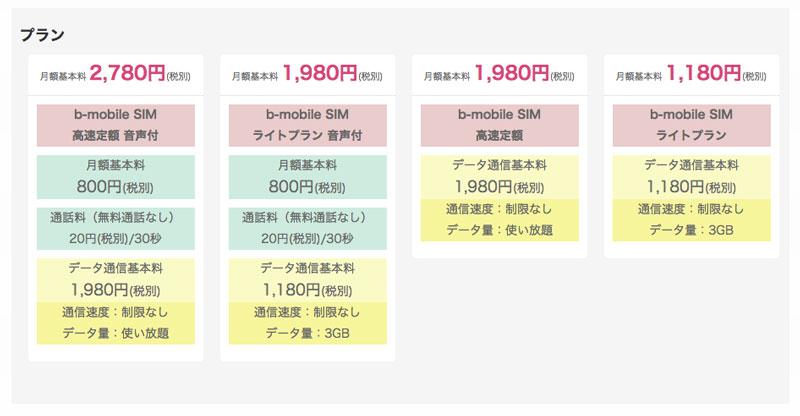 b-mobile料金プラン